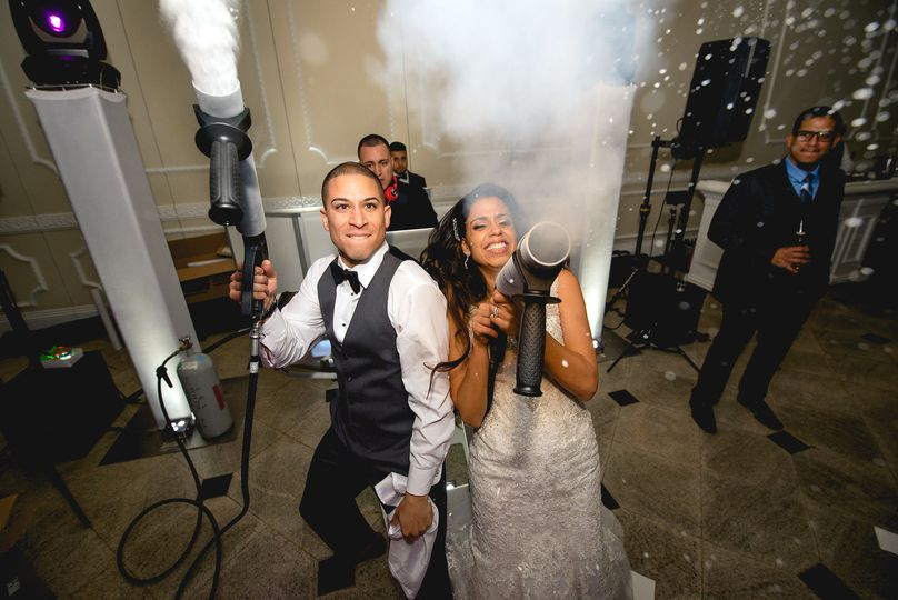 Newlyweds with their cannon