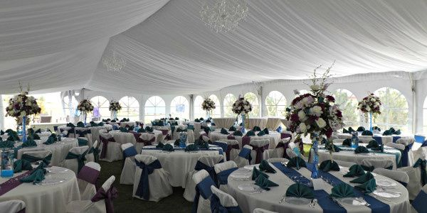 Peacock Wedding beneath a tent with a liner