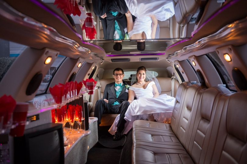 Couple inside the limo