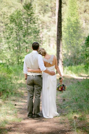 Wedding Couple Place setting at The Pond at Lake Creek Lodge in Camp Sherman, Metolius River area,...
