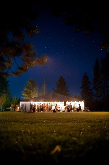 Tented Reception in the North Meadow at Lake Creek Lodge in Camp Sherman, Metolius River area,...