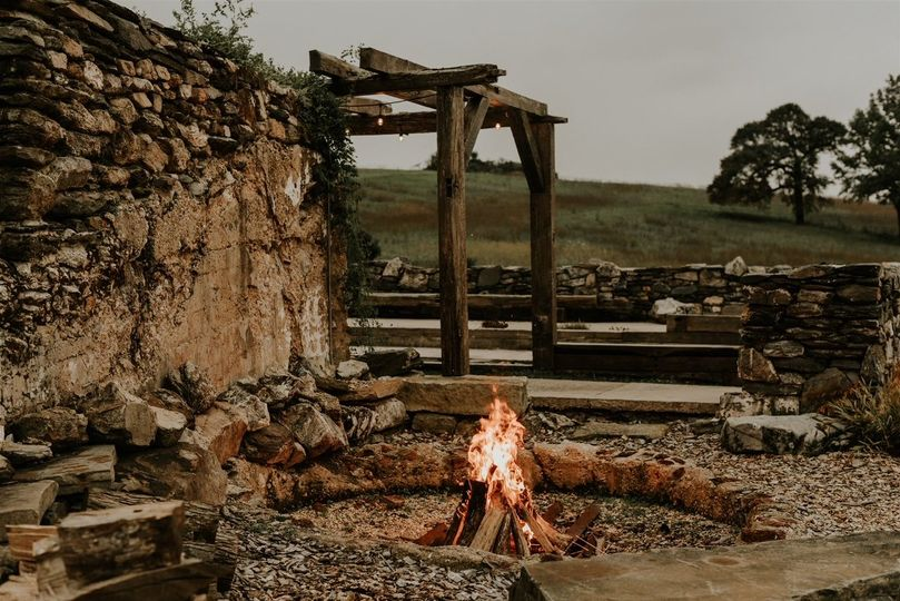 Fire pit in barn ruins
