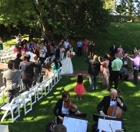 Playing music for the wedding