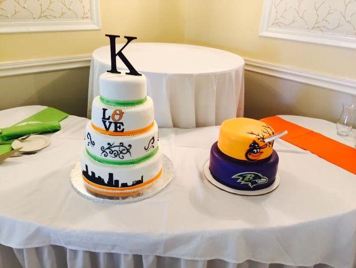 skyline cake and grooms cake