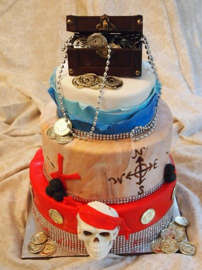 Pirate themed wedding cake complete with edible white chocolate skull