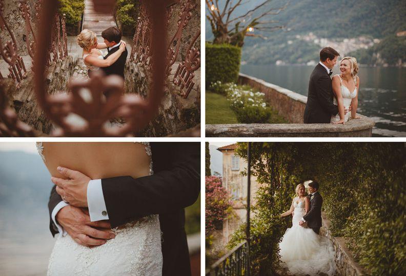 lake como wedding showing bride and groom photosho