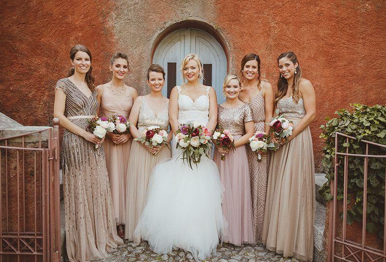 bride and bridesmaids at lake como wedding by my l