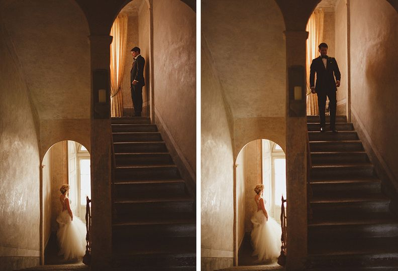 bride and groom reveal at italy villa on lake como
