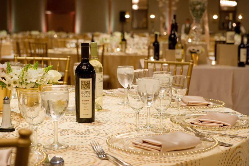 Table setting and wine bottles