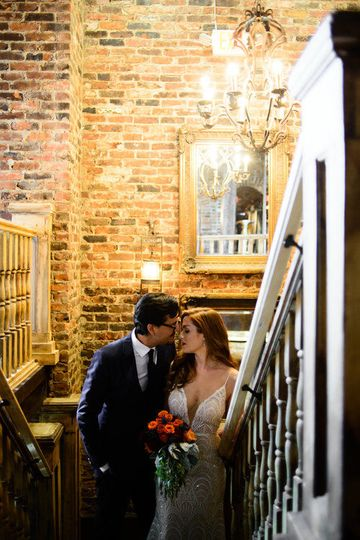 Couple by the stairs