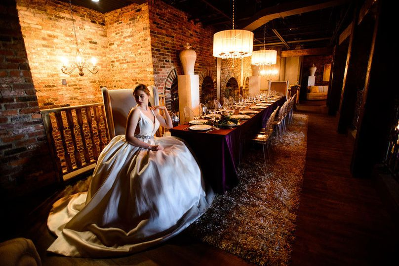 Bride by the table