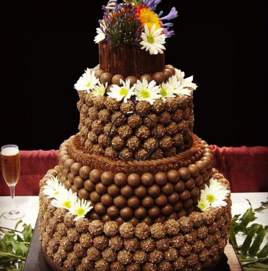 Chocolate wedding cake with flowers