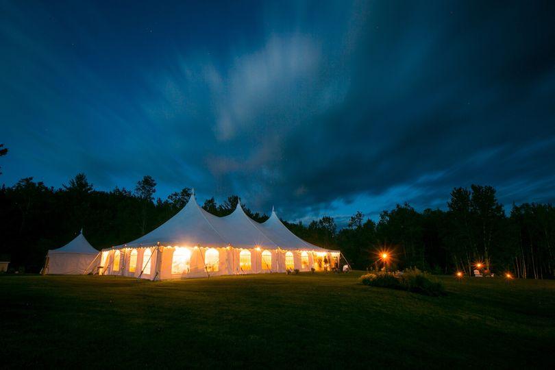 Evening tent lighting