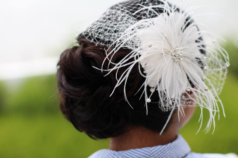 Updo and headdress