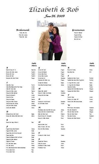 This seating chart was created with the engagement picture of the bride and groom, along with the...