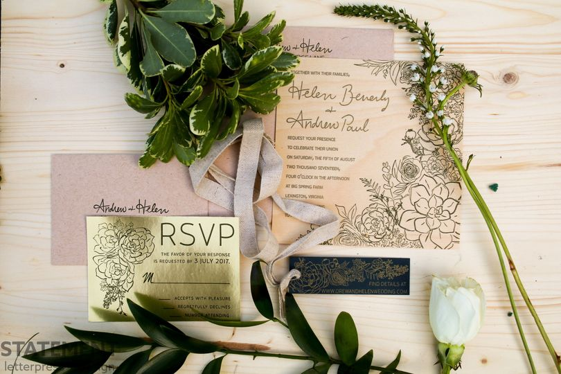 RSVP design with ribbon
