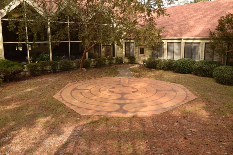 Unity Spiritual Center's garden area with labyrinth and gazebo.
