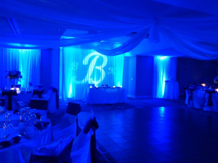 Blue uplighting & custom monogram projection