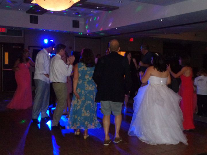 Working the dance floor at a wedding