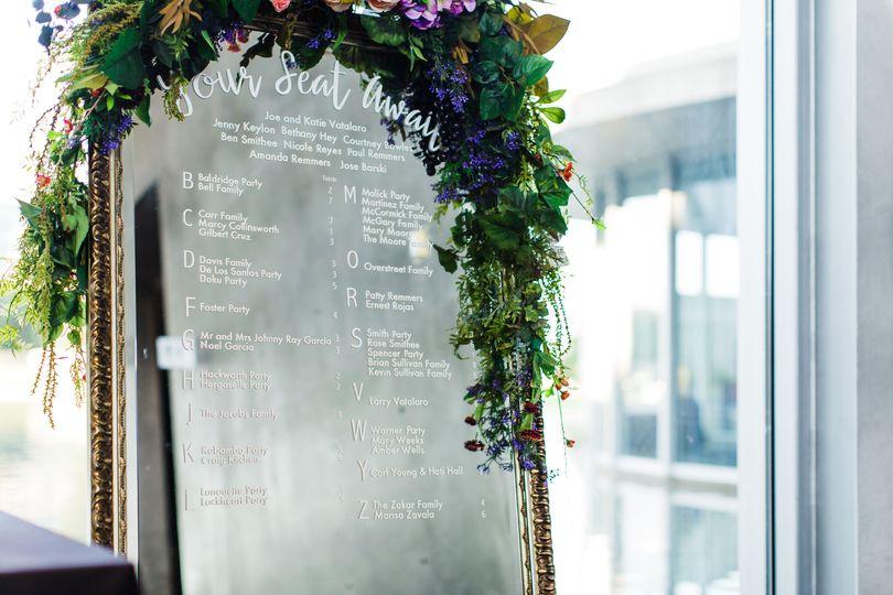 Draped flower arrangement