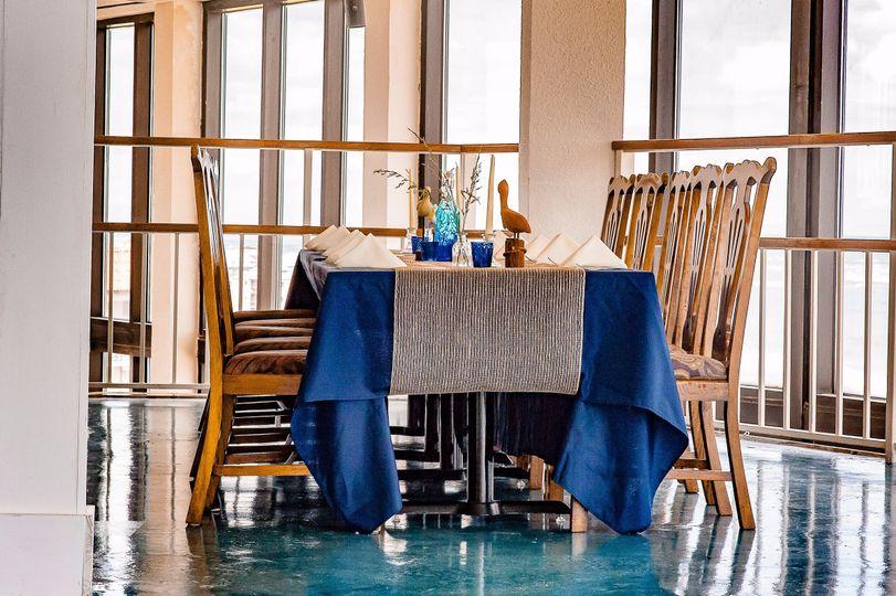 Long blue table