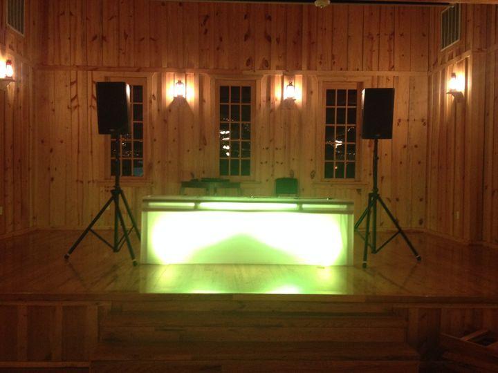 Sound, DJ gear, DJ booth with fascia skirting, and uplighting