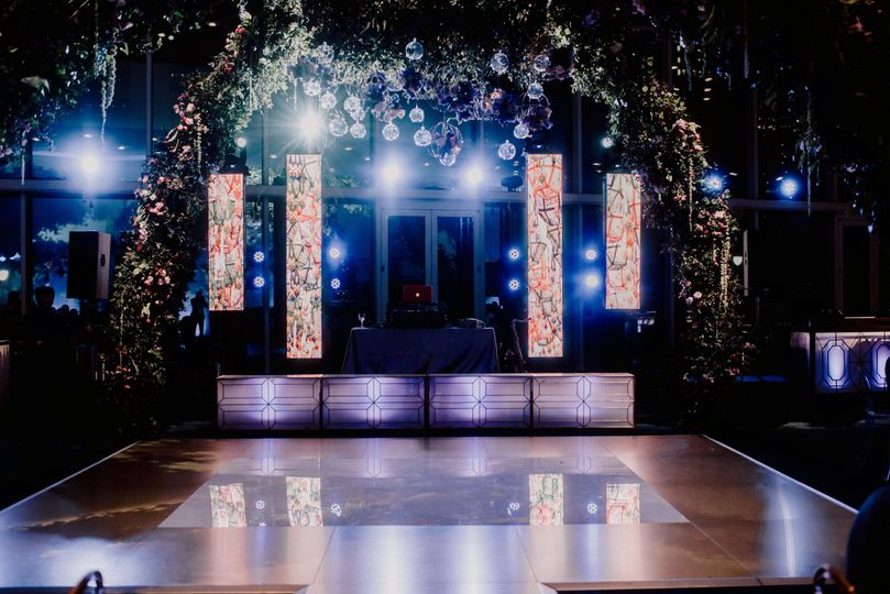 Sound, lighting, and video wall for a wedding at the Hobby Center