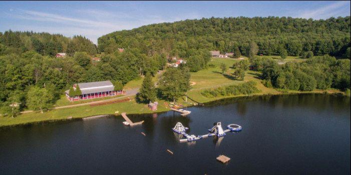 Aerial shot of the lake