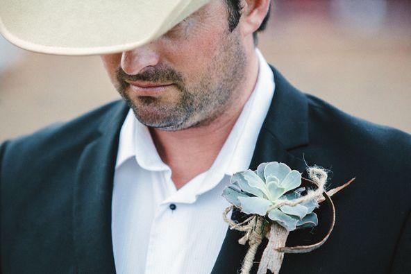 Rustic succulent boutonniere. Emik Nikora Wedding Photographers for Our Wedding Magazine.