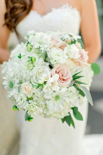 White, blush pink and soft green bridal bouquet. Photo by Awe Captures Photography.