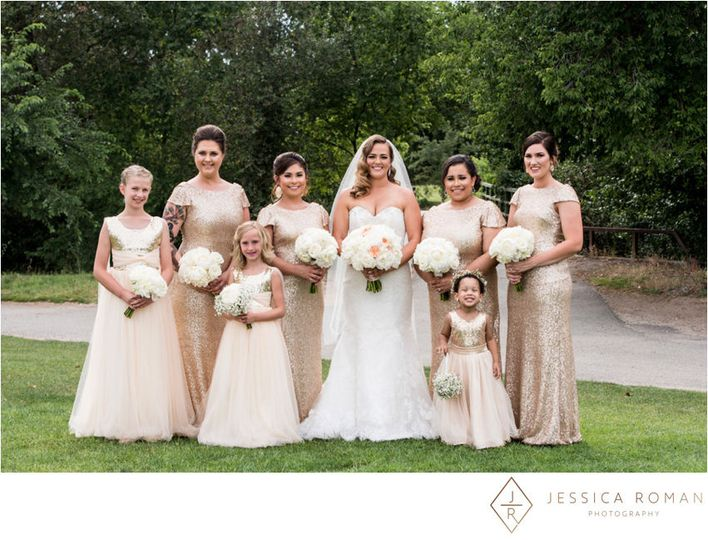 Bride and Bridesmaids bouquets & Flower Girl pomander. Jessica Roman Photography.