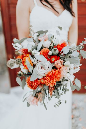 Coral and sage Bouquet