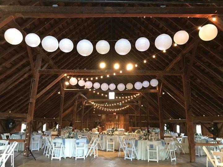 Lanterns hanging on beams