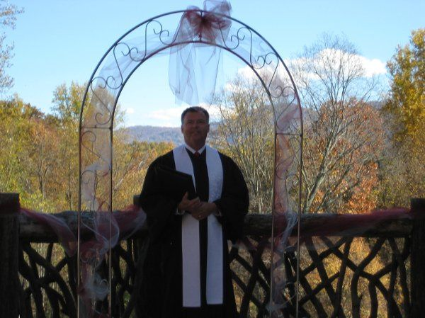 Officiant under the arch