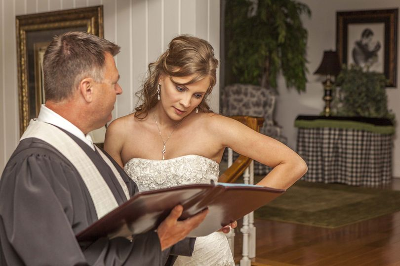 Officiant and bride