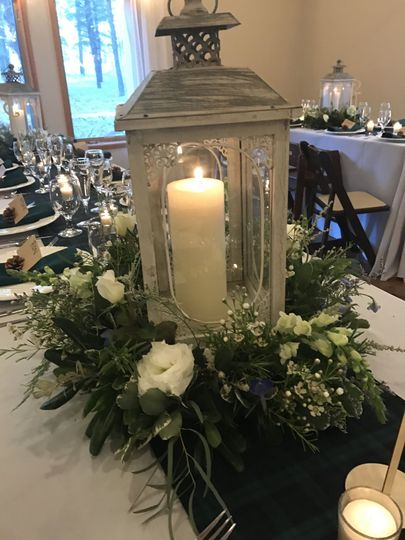 Candle centerpiece in a lantern