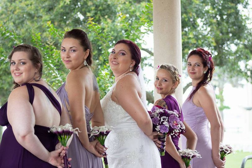 Bridal party posing together