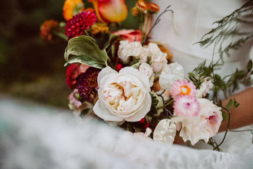 Lush bouquet with garden roses