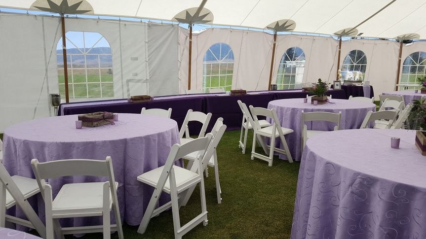Purple tablecloths with chairs