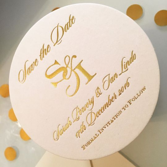 Foil stamped Save-the-Date coasters