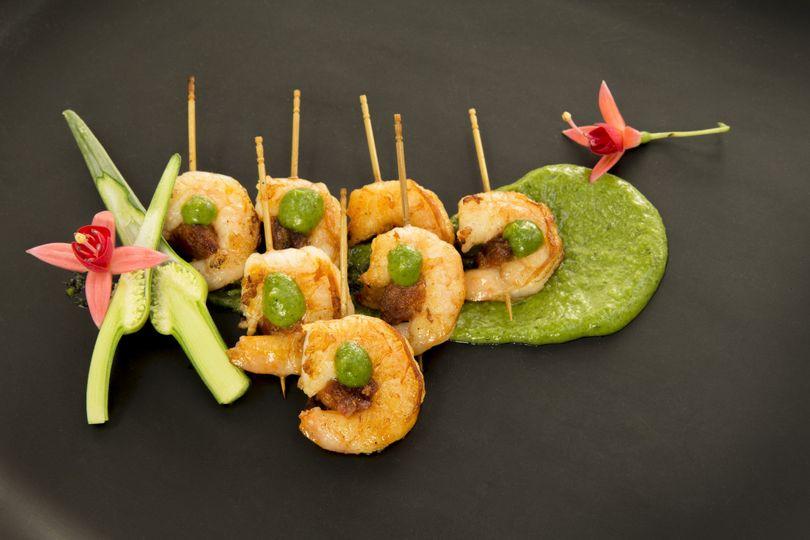 Shrimp and Chorizo skewers with cilantro mojo