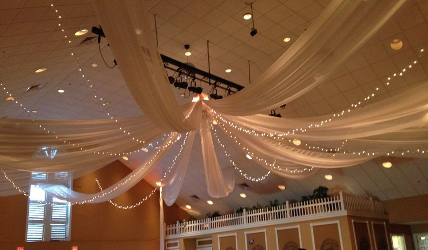 Ceiling draping with lights
