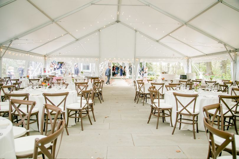 Inside the tent with Awbury-provided tables and chairs