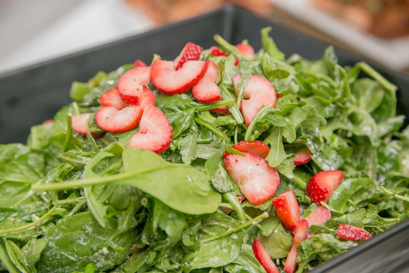 Birchtree Catering's local, seasonal menu offerings - Spring Salad with mixed greens, strawberries...