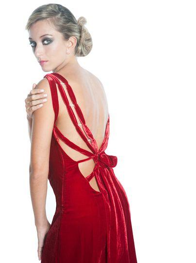 Backless Evening Red Silk Velvet Gown