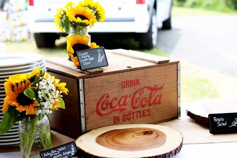 Vintage Coke Bottle crate and wooden platters provide by Pierrot Catering