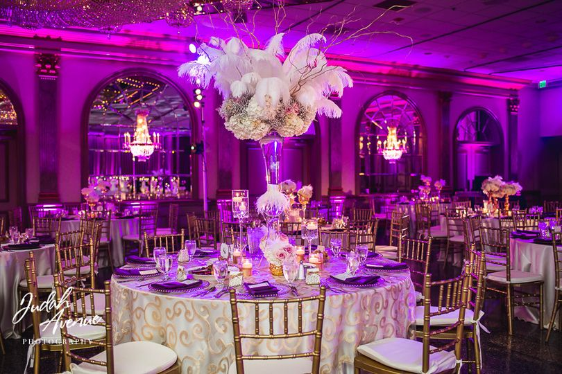 Table setting with pink uplighting
