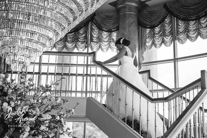 The bride heading up the stairs