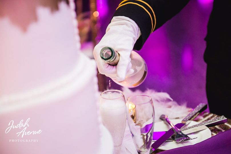 Pouring of champagne