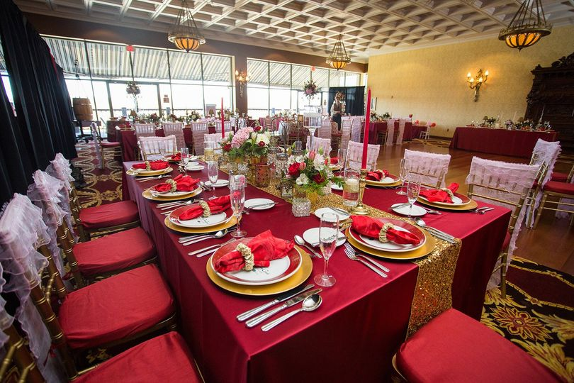 Gold and red table setup